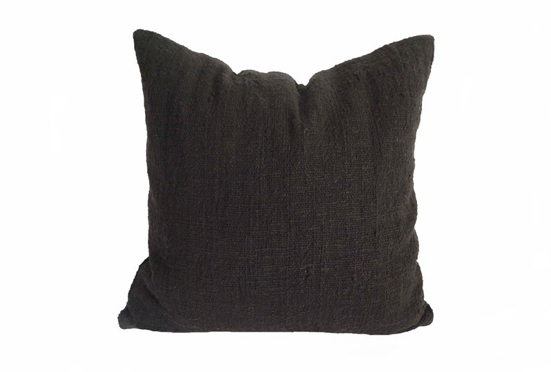 Bay window cushion Black home decor Handwoven Accent pillow Black throw cushion cover hand dyed raw organic cotton pillow