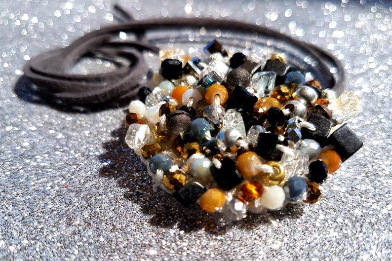 Collana Alluncinetto Con Cristalli E Perline Miste Etsy