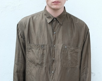 f58b4e79291d 90s Vintage Silk Long Sleeve Button Down Mens Shirt Olive Green Size L