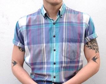 Vintage Plaid Men's Short Sleeve Button Down Shirt
