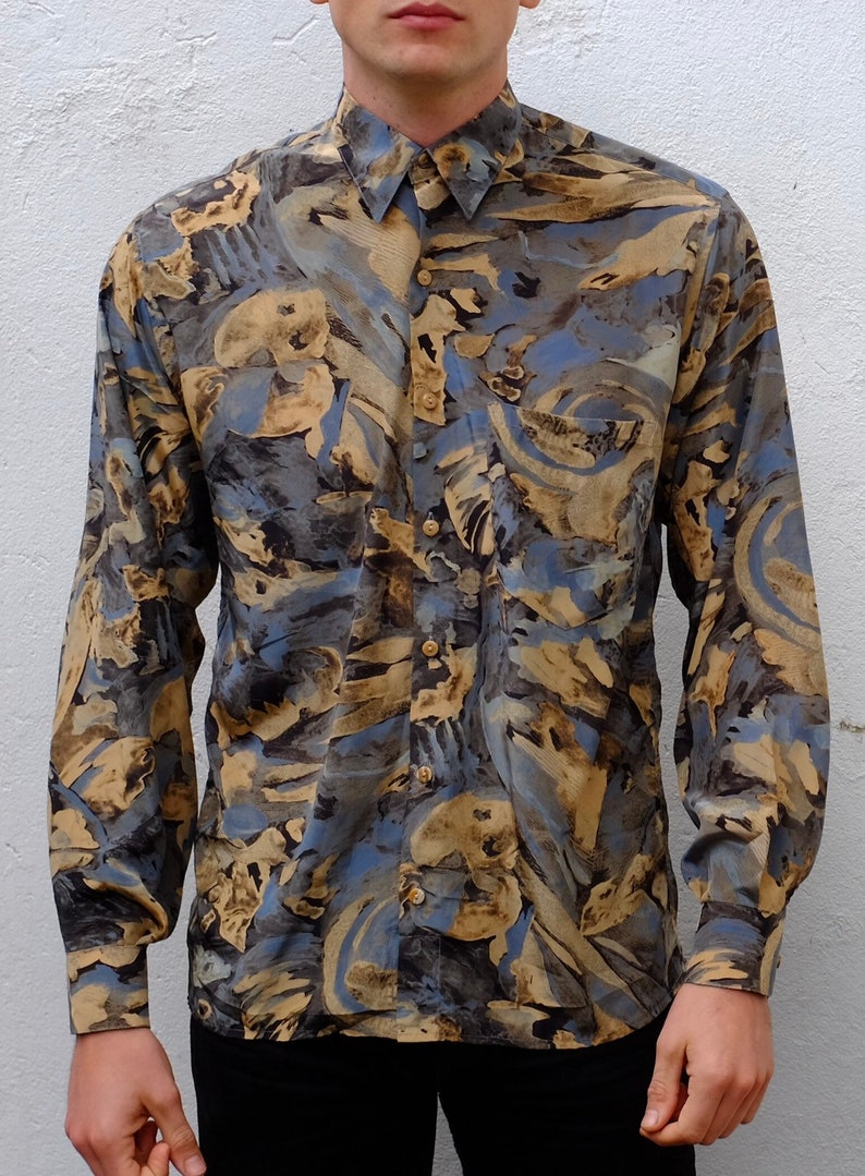 90s Vintage Printed Silk Like Long Sleeve Mens Button Up Flowy Shirt Size M