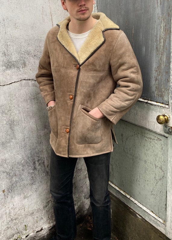 Vintage Sheepskin Button Front Mens Jacket Size 40