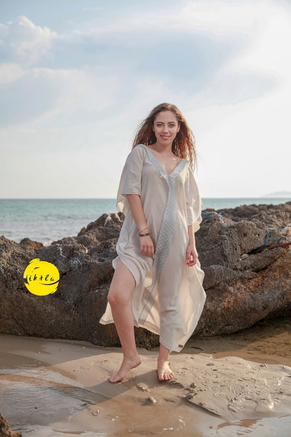 up V Long Loose kaftan dress Back Loose kaftan and SOLEIL Beach raw Beach wedding fit cover fit cotton Seashell Soft Deep Neck qxtZ74O