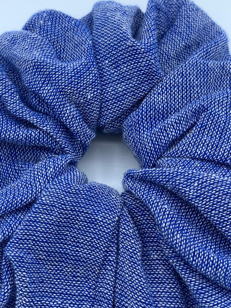 handmade from raw cotton. Ocean blue oversized scrunchie with bow