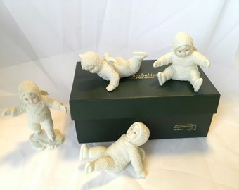 "Snowbabies department 56 ""All Fall Down"" porcelain figures"