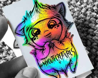Little rainbow magic friend- Holographic vinyl sticker 2018 kawaii cute adorable creature hologram creaturi dragute art monster fox rabbit