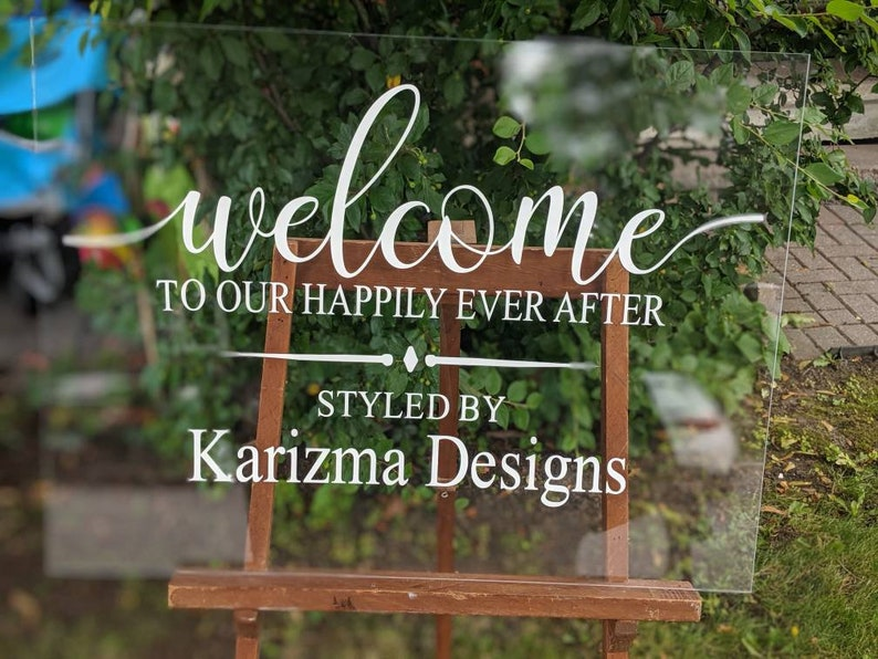 Acrylic wedding sign, acrylic signs, weddings, happily ever after, glass,  clear wedding signs, welcome signs, modern welcome wedding signs