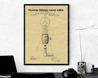1882 Thomas Edison Lamp Patent Print,Edison Light Bulb,Edison Bulb Table Lamp,Edison Lighting,Vintage Home Decor,Edison Bulb,Edison Print