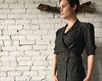 1970's Vintage Black Spotted Shirt Dress
