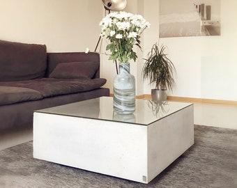 besigns beton design couchtisch design conrete coffee table furniture 70x70cm esg glas glass