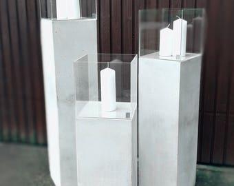 besigns beton designs windlichtsaulen 3er set terrasse wohnzimmer garten windlicht saule windlichtsaule