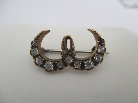 Beautiful Horseshoe Bar and Paste Victorian Gold Plated Brooch