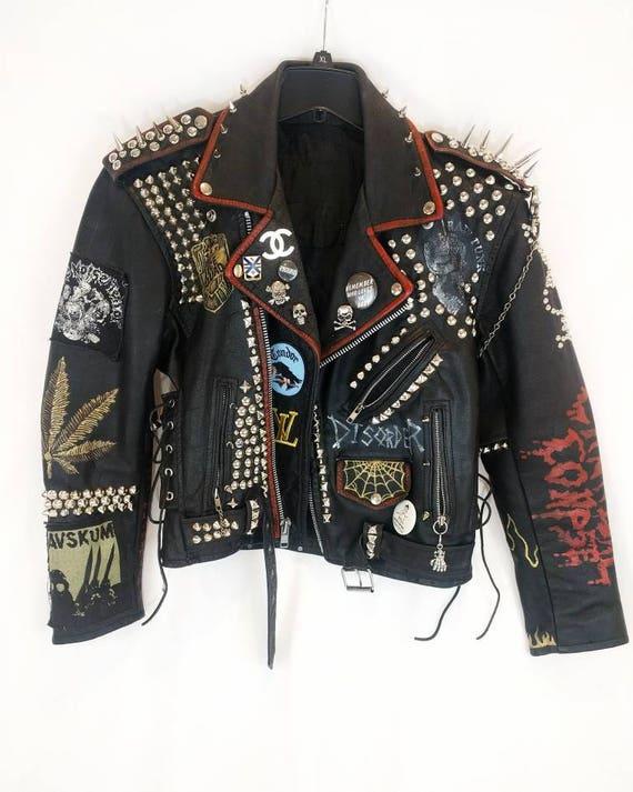3afc7d8ddd9c image 0. VTG Hand-Painted Studded Punk Leather Jacket The Misfits ...