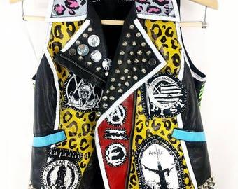 Punk Leather Vest, Crust Punk Vest, Crust Punk Studded Leather, Studded Jacket, Studded Leather Vest, Girls Punk Vest, Faux-Leather Punk