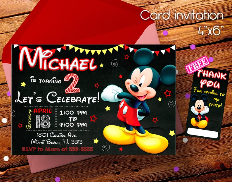 Mickey Mouse Invitation Mickey Mouse Mickey Mouse Party Etsy