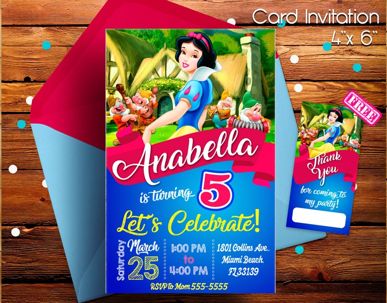 Snow White And The Seven Dwarfs Invitation Snow White Etsy
