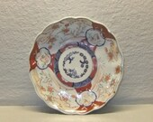 Imari porcelain, decorated with flowers and rabbits - Japan Meiji nineteenth century plate