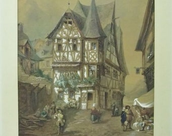 Watercolor - French school - early nineteenth s - animated - Alsatian alley Art and antique