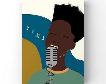 Music Art Print | Boys Room Decor | Playroom Wall Art | African American | Kid's Music Gift | Musical Wall Decor | Children's Black Art