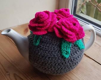 01b3ec65d9f9 Crochet tea cosy, flower tea cosy, stylish tea cosy, roses tea cosy. Wool tea  cosy,pretty tea cosy. Handmade gift