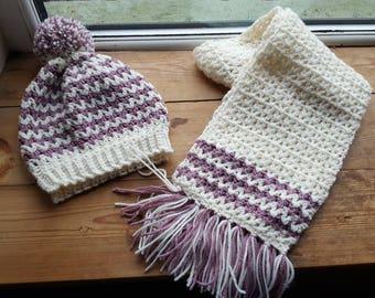 Handmade, crochet, aran hat and scarf