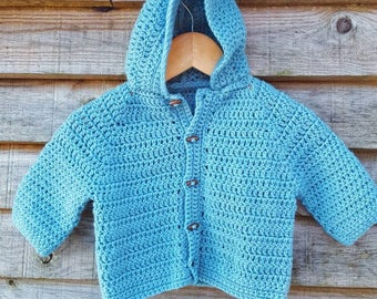 Crochet baby cardigan, crochet baby sweater, green baby cardigan, hooded baby sweater, baby sweater age 3 to 6 months