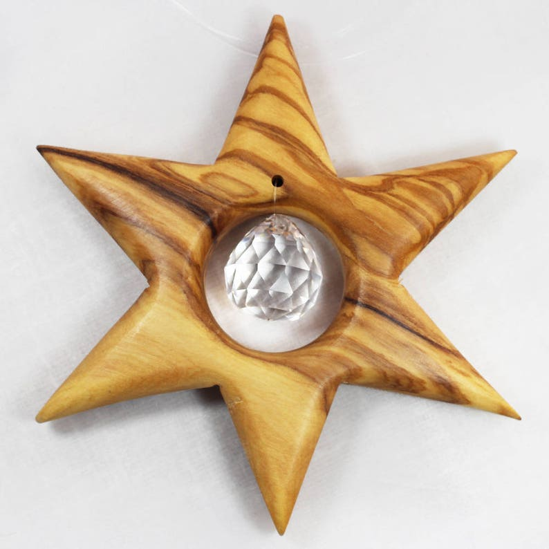 Star window decoration made of wood with lead crystal Christmas decoration