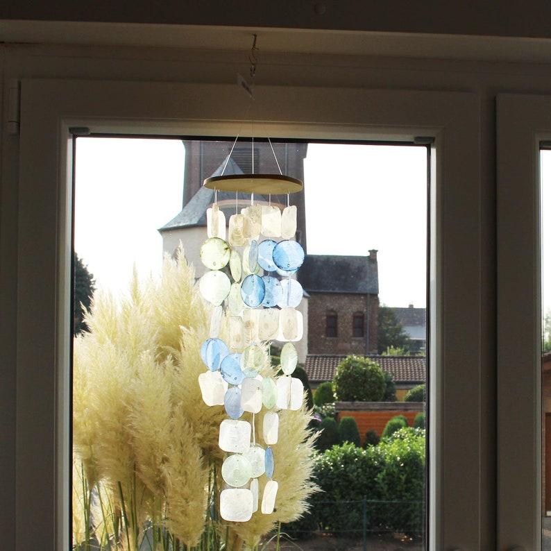 Window decoration for hanging Window decoration shell mobile blue-turquoise-creme Window decoration Gift idea