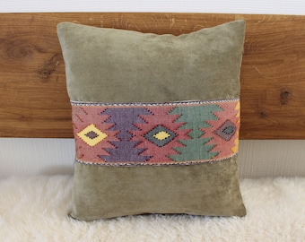 Sofa Pillow Green with ribbon   Decorative Ethnokissen 40x40