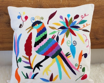 Sofa Pillow colorful bird, Mexican embroidery 40 x 40 cm