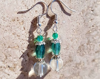 Transparent and moss green glass earrings
