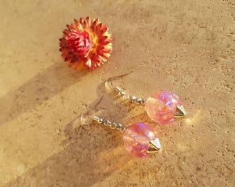 Resin earrings with 16 mm evening Medusa Effect