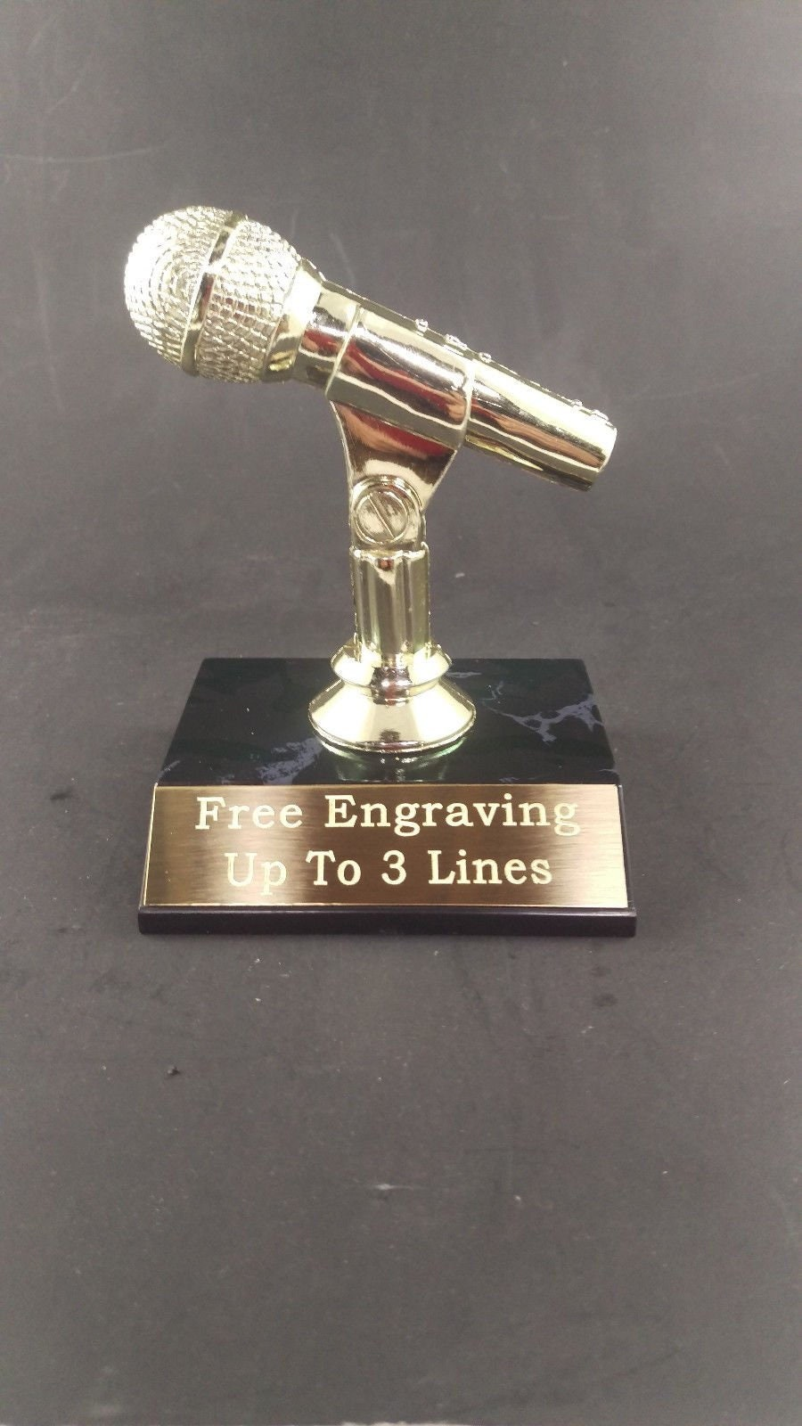 Microphone Trophy Music Karaoke Award. Free Custom Engraving