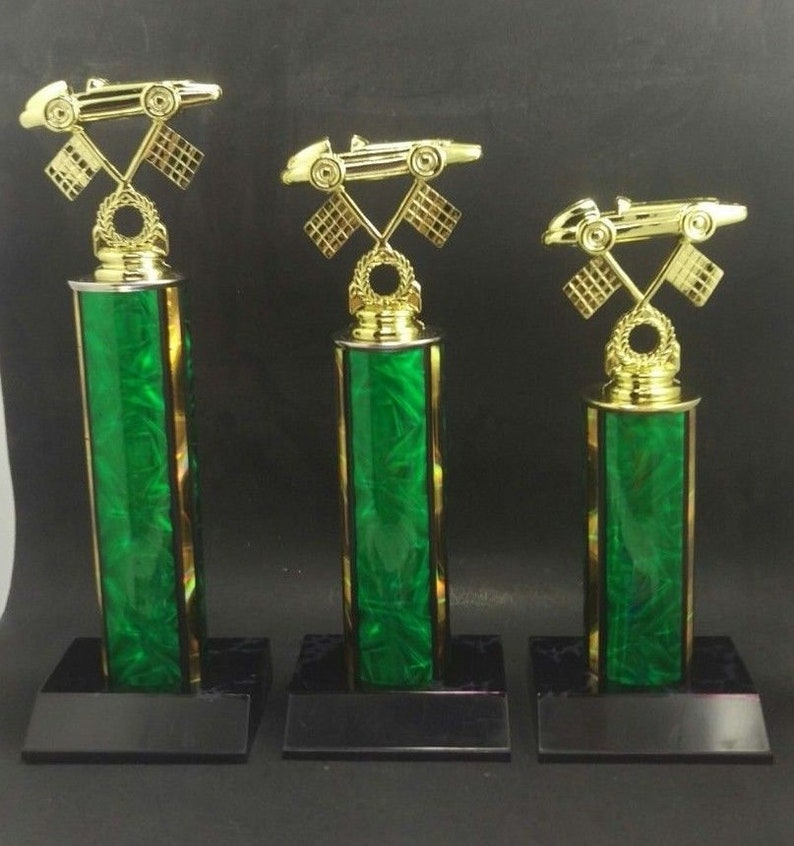 Set of 3 Pinewood Derby Trophies  Boy Scouts, Cub Scouts, Girl Scouts  Free  Custom Engraving