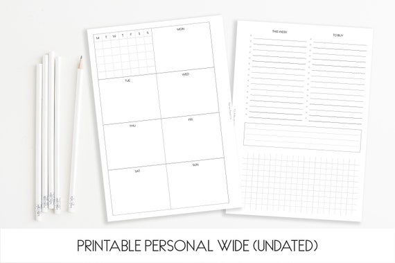 Printable Personal Wide Size 'The Stina' Weekly Insert (Undated) - Clean Design