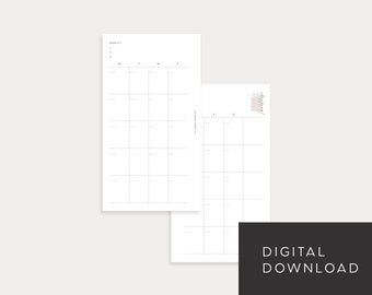 PRINTABLE Personal Size Undated Monthly No. 1 (Month on 2 pages)