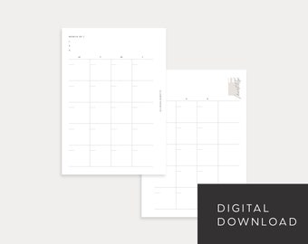 PRINTABLE A6 Size Undated Monthly No. 1 (Month on 2 pages)