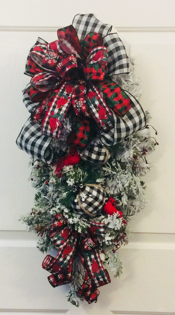 Christmas Swag.Buffalo Check Christmas Swag Christmas Door Decor Winter Wreath