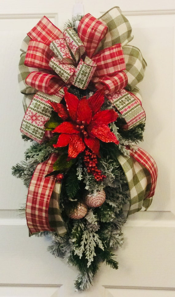 Christmas Swag.Rustic Country Christmas Swag Christmas Door Decor Rustic Winter Wreath Poinsettia Wreath