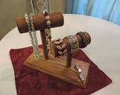 2 Bar Accessory Holder on Stand made from Oak and Magnolia Wood.