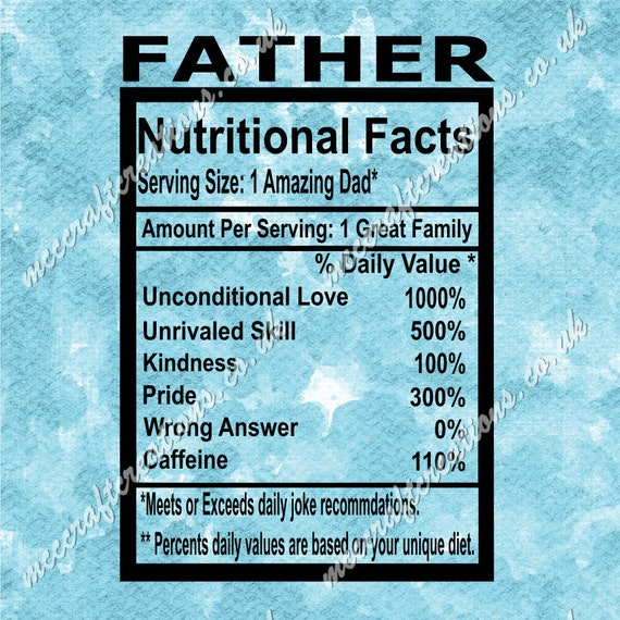 Father Nutritional Facts Svg Cricut Silhouette Cutting Etsy