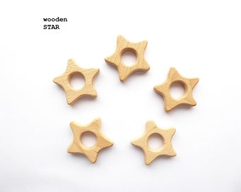 Wood Star / Wooden Star teether / DIY teething toy / Wooden rings for toys / Organic teething toy / Wooden teethers / Wood pendants
