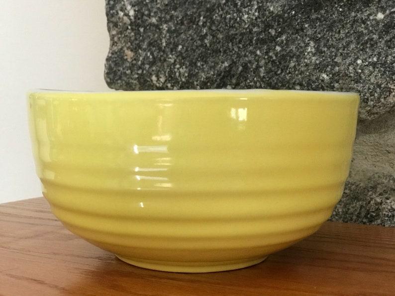 Hand Painted Lemon Yellow Glazed Pottery Bowl