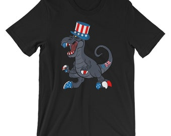 Patriotic Dinosaur July 4th Shirt for Kids, Teens, Adults (Shipped from USA)