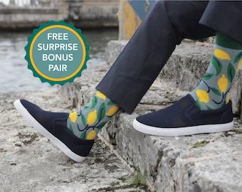LEMONS - Bamboo socks  / lemons socks / nature inspired socks  / graphic socks / dress socks / comfy socks / colorful socks / original socks