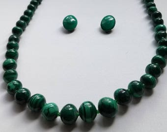 Set chain necklace earrings malachite Old