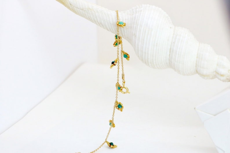 Delicate Gold Bracelet with Amazonite Stone and Beads  Boho Thin Dainty Beaded Chain Bracelet  Friendship Bracelet