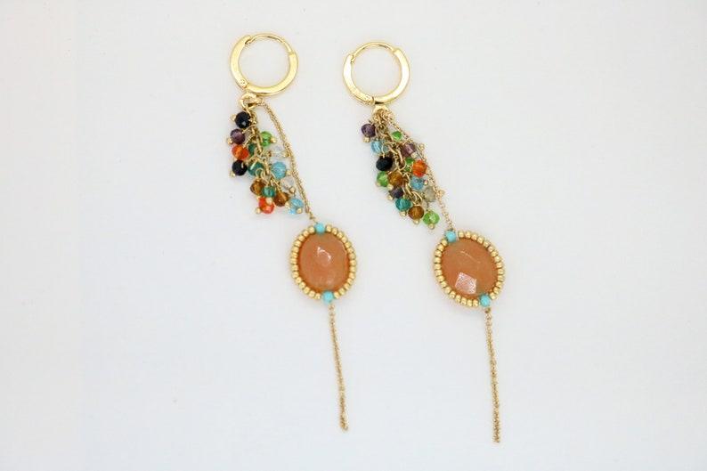 gold buckle Stone earrings gold filled chain pearl earrings long earrings chic bohemian creation orange aventurine stone gift