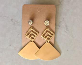 Statement Brass Gold Triangle Diamond Dangle Drop Fan Stud Earrings