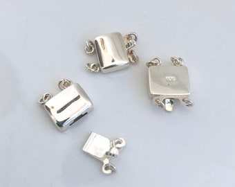 Rectangle Sterling Silver 2 strand Box Clasp Stamped 925 soldered jump rings